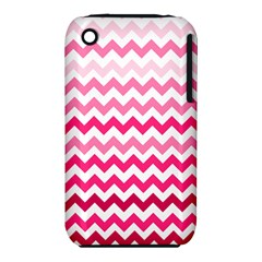 Pink Gradient Chevron Large Apple iPhone 3G/3GS Hardshell Case (PC+Silicone)