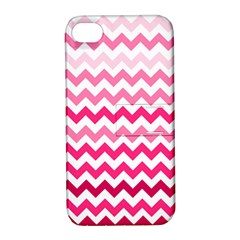 Pink Gradient Chevron Large Apple iPhone 4/4S Hardshell Case with Stand