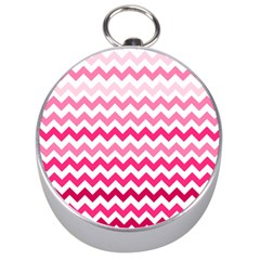 Pink Gradient Chevron Large Silver Compasses