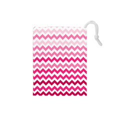 Pink Gradient Chevron Large Drawstring Pouches (Small)