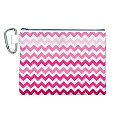 Pink Gradient Chevron Large Canvas Cosmetic Bag (L)