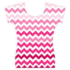 Pink Gradient Chevron Large Women s Cap Sleeve Top