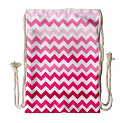Pink Gradient Chevron Large Drawstring Bag (Large)
