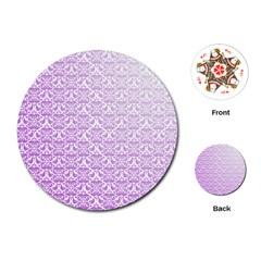 Purple Damask Gradient Playing Cards (Round)