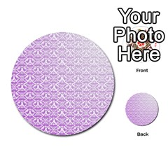 Purple Damask Gradient Multi Purpose Cards (round)
