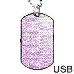 Purple Damask Gradient Dog Tag USB Flash (Two Sides)
