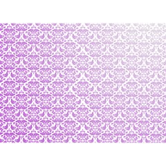 Purple Damask Gradient Birthday Cake 3D Greeting Card (7x5)