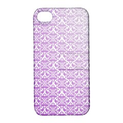 Purple Damask Gradient Apple iPhone 4/4S Hardshell Case with Stand