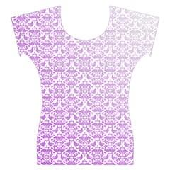 Purple Damask Gradient Women s Cap Sleeve Top