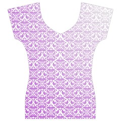 Purple Damask Gradient Women s V-Neck Cap Sleeve Top
