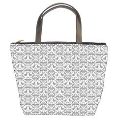 Gray Damask Bucket Bags