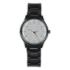 Gray Damask Stainless Steel Round Watches