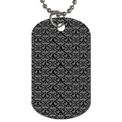 Silver Damask With Black Background Dog Tag (One Side)