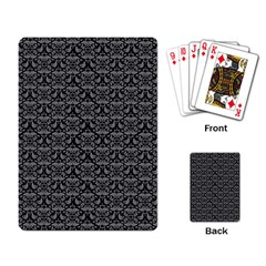 Silver Damask With Black Background Playing Card