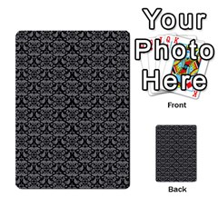 Silver Damask With Black Background Multi-purpose Cards (Rectangle)