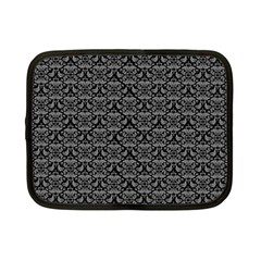 Silver Damask With Black Background Netbook Case (Small)