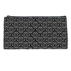 Silver Damask With Black Background Pencil Cases