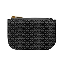 Silver Damask With Black Background Mini Coin Purses