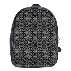 Silver Damask With Black Background School Bags(Large)
