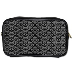 Silver Damask With Black Background Toiletries Bags 2-Side