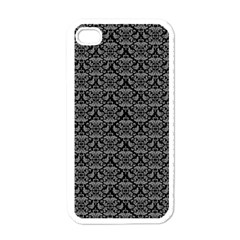 Silver Damask With Black Background Apple iPhone 4 Case (White)