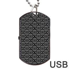 Silver Damask With Black Background Dog Tag USB Flash (One Side)