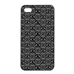 Silver Damask With Black Background Apple Iphone 4/4s Seamless Case (black)
