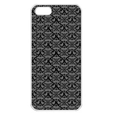 Silver Damask With Black Background Apple iPhone 5 Seamless Case (White)