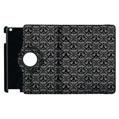 Silver Damask With Black Background Apple iPad 2 Flip 360 Case