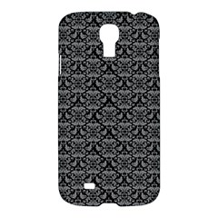 Silver Damask With Black Background Samsung Galaxy S4 I9500/I9505 Hardshell Case
