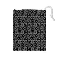 Silver Damask With Black Background Drawstring Pouches (Large)