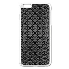 Silver Damask With Black Background Apple iPhone 6 Plus/6S Plus Enamel White Case