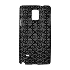 Silver Damask With Black Background Samsung Galaxy Note 4 Hardshell Case