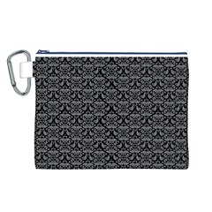 Silver Damask With Black Background Canvas Cosmetic Bag (L)
