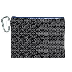 Silver Damask With Black Background Canvas Cosmetic Bag (XL)