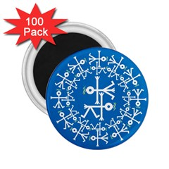 Birds And Olive Branch Circle Icon 2.25  Magnets (100 pack)