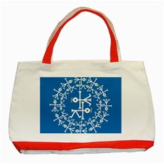 Birds And Olive Branch Circle Icon Classic Tote Bag (Red)