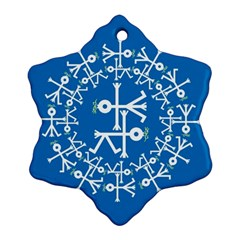 Birds And Olive Branch Circle Icon Snowflake Ornament (2 Side)