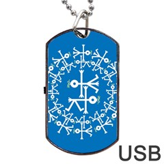 Birds And Olive Branch Circle Icon Dog Tag USB Flash (Two Sides)