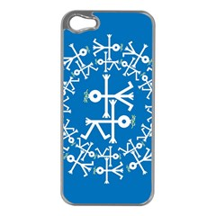 Birds And Olive Branch Circle Icon Apple iPhone 5 Case (Silver)