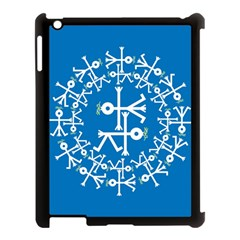 Birds And Olive Branch Circle Icon Apple iPad 3/4 Case (Black)