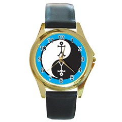 Yin And Yang Icon  Round Gold Metal Watches