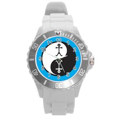 Yin And Yang Icon  Round Plastic Sport Watch (L)