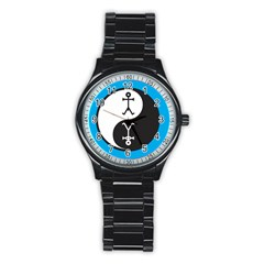 Yin And Yang Icon  Stainless Steel Round Watches