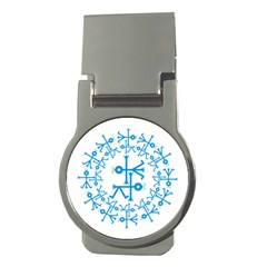 Blue Birds And Olive Branch Circle Icon Money Clips (Round)
