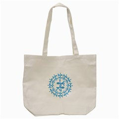 Blue Birds And Olive Branch Circle Icon Tote Bag (Cream)
