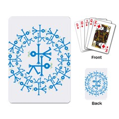 Blue Birds And Olive Branch Circle Icon Playing Card