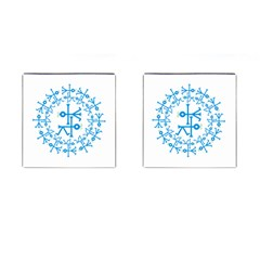 Blue Birds And Olive Branch Circle Icon Cufflinks (Square)