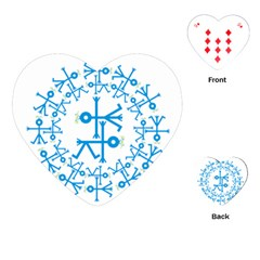 Blue Birds And Olive Branch Circle Icon Playing Cards (Heart)