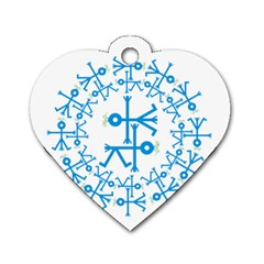 Blue Birds And Olive Branch Circle Icon Dog Tag Heart (One Side)